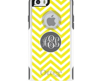 OtterBox Commuter for Apple iPhone 5S SE 5C 6 6S 7 8 PLUS X 10 - Custom Monogram or Image - Yellow White Grey Chevron Circle