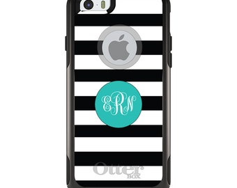 OtterBox Commuter for Apple iPhone 5S SE 5C 6 6S 7 8 PLUS X 10 - Custom Monogram or Image - Black White Teal Circle Monogram