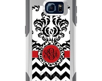 OtterBox Commuter for Galaxy S4 / S5 / S6 / S7 / S8 / S8+ / Note 4 5 8 - CUSTOM Monogram Name Initials - Black White Red Damask Chevron