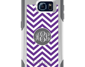 OtterBox Commuter for Galaxy S4 / S5 / S6 / S7 / S8 / S8+ / Note 4 5 8 - CUSTOM Monogram Name Initials - Purple White Grey Chevron Circle