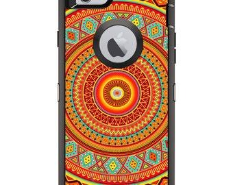 CUSTOM OtterBox Defender Case for Apple iPhone 6 6S 7 8 PLUS X 10 - Personalized Monogram - Orange Teal Yellow Tribal Print