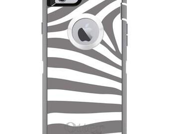 CUSTOM OtterBox Defender Case for Apple iPhone 6 6S 7 8 PLUS X 10 - Personalized Monogram - Grey & White Zebra Skin Stripes