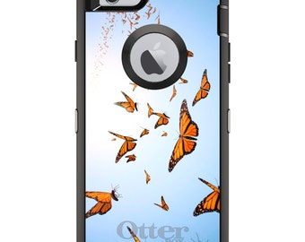 Monarch Butterflies OtterBox Defender / Apple iPhone OR Samsung Galaxy / Flying / Custom Personalized Monogrammed / Any Color / Any Font