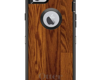 Wood Floor OtterBox Defender / Apple iPhone OR Samsung Galaxy / Dark Wood / Custom Personalized Monogrammed / Any Color / Any Font