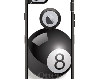 Eight Ball OtterBox Defender / Apple iPhone OR Samsung Galaxy / Magic 8 Ball Black / Custom Personalized Monogrammed / Any Color / Any Font