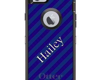 CUSTOM OtterBox Defender Case for Apple iPhone 6 6S 7 8 PLUS X 10 - Personalized Monogram - Purple Teal Stripes Name