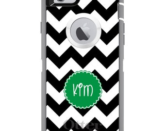 CUSTOM OtterBox Defender Case for Apple iPhone 6 6S 7 8 PLUS X 10 - Personalized Monogram - Black White Chevron Green Circle