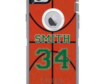 CUSTOM OtterBox Defender Case for Apple iPhone 6 6S 7 8 PLUS X 10 - Personalized Monogram - Basketball Green Number Name