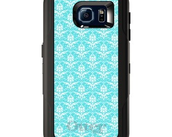 Custom OtterBox Defender for Galaxy S5 S6 S7 S8 S8+ Note 5 8 Any Color / Font - Baby Blue White Damask Pattern