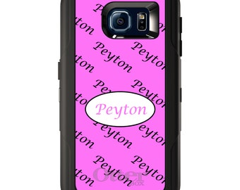 Custom OtterBox Defender for Galaxy S5 S6 S7 S8 S8+ Note 5 8 Any Color / Font - Pink Grey Oval Name