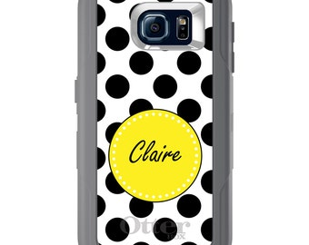 Custom OtterBox Defender for Galaxy S5 S6 S7 S8 S8+ Note 5 8 Any Color / Font - Black Yellow White Polka Dots