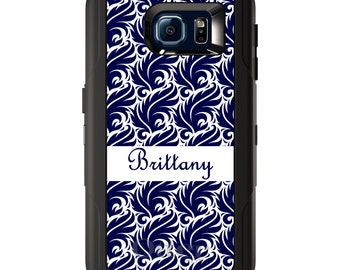 Custom OtterBox Defender for Galaxy S5 S6 S7 S8 S8+ Note 5 8 Any Color / Font - Purple White Floral Flower Pattern