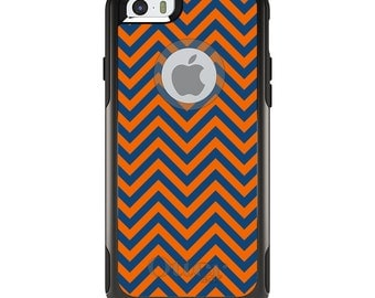 OtterBox Commuter for Apple iPhone 5S SE 5C 6 6S 7 8 PLUS X 10 - Custom Monogram - Univeristy of Virginia UVA Cavaliers Colors - Chevron