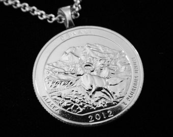DENALI - National Park - Simple Necklace, Money Clip, Man Drop, or Key Ring.  For lovers of Mountains and Alaska, even YOU!.