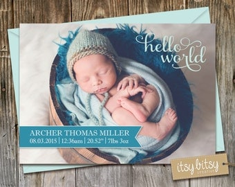 Birth Announcement for a newborn baby boy or baby girl, Hello World, Birth Stats Card 6x4 or 5x7 Colours chosen to match photo