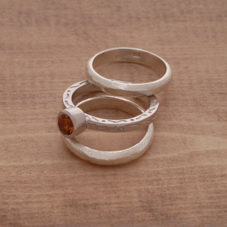Citrine Triple Wedding Ring Set Engagement By SilverJewelleryPlus