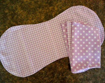 Bamboo cotton baby burp cloths, set of 4, purple houndstooth and polka dots, two layer absorbent bamboo burp cloths