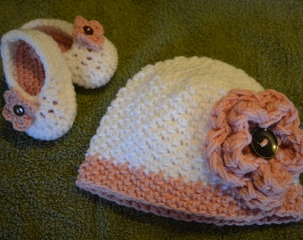 Flower Hat and Baby Booties Set - 0-6 months or 6-12 month sizing available