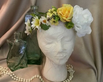 White and Yellow  Floral  Crown