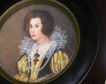 Amazing french antique Portrait Painting Miniature Hand painted oil painting wooden bronze ormolu frame bombe glass queen princess signed