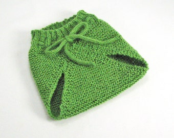 Baby Alpaca, 0-3 Months Soaker Pants, Diaper Cover, Spring Green, Seamless Hand Knit, Vintage Inspired - READY TO SHIP