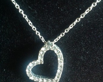 Silvertone Crystal Heart Necklace