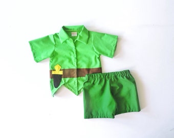 Peter Pan Set (2 pc set) -Peter Pan Costume -Pirate Disney Cruise- Neverland Outfit- Halloween Outfit- Neverland - Birthday Costume