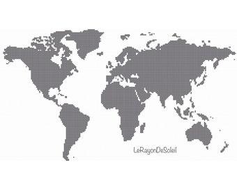 Modern cross stitch pattern five continents map America Africa Australia Europe Asia. PDF Instant download.
