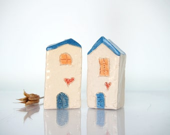 Croatian village set - OOAK Ceramics Minature  Architectural Set  - Handmade clay houses, Natural Beige houses with blue roofs, Home decor