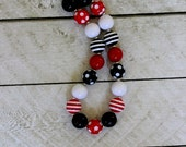 girls pirate necklace minnie mouse chunky necklace mickey mouse bubblegum bead necklace fall necklace toddler red white black necklace
