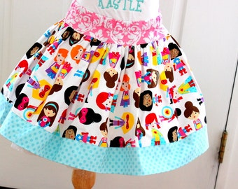 girls super hero skirt girl birthday super hero skirt in aqua pink purple yellow red girls twirly skirt
