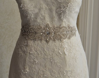 Wedding sash  - Bridal sash - Bridal belt -  Pearl And Rhinestone Sash,-Olivia-Ivory Satin Sash