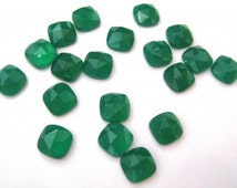 Lot Of Stunning AAA Quality 25 Pieces Natural Green Onyx 6x6 MM Cushion Rose Cut Loose Gemstone .