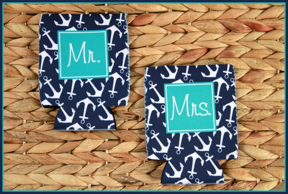 Mr and Mrs Can Cooler Set Custom Can Coolies Bride and Groom Mr. and Mrs. Wedding Gift Honeymoon Gift Newlyweds Cozies Personalized Gifts