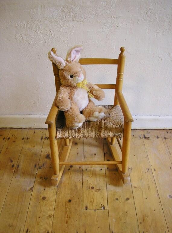 Vintage Children S Rocking Chair Wicker Woven Seat By
