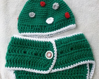 Christmas Diaper Cover & Ornament Hat
