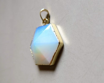 Opalite Hexagon Pendant with Golden Edge - B1267