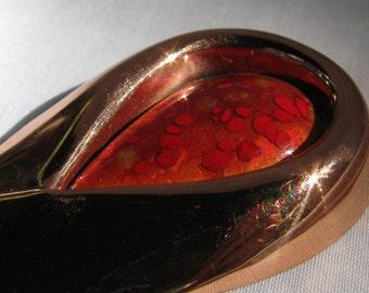 MATISSE RENOIR Signed Sari Copper and Art Glass Brooch, Modernist 1950's, Stunning!