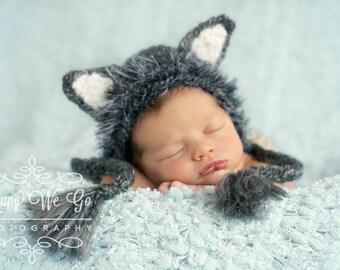 Newborn Boy Prop - Wolf Bonnet -  Made to Order in 3-4 Weeks - Wolf Hat - Newborn Prop - Boy Bonnet - Baby Boy Prop - Baby Wolf Hat