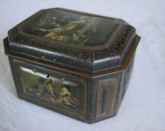 Vintage 1900s French Tin box Carmel Fin A La Creme with lock no key