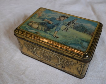 Vintage 1940s Tin Box 'Made in France' Man and Boy Fishing