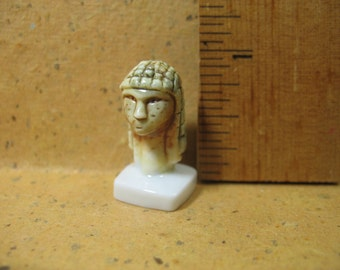 WOMEN in ART Miniatures VENUS of Brassempouy Ivory Bust Head  - French Feve Feves Porcelain Figurine Miniatures A110