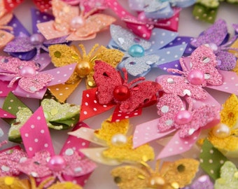 Dog's Grooming Bows - 30 Pcs. Glitter Butterfly