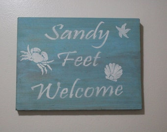 Sandy Feet Welcome Beach Sign