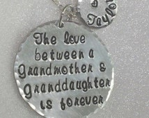 Grandmother Necklace -Granddaughter Jewelry -  Love Is Forever - Personalized - Hand Stamped Jewelry - Grandson