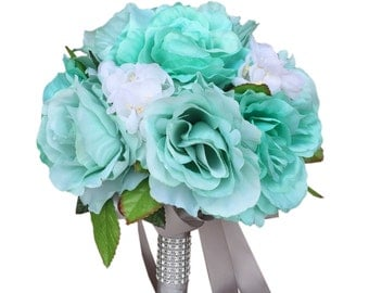 "10"" Bouquet-Aqua open roses with hydrangea and greenery-artificial wedding flower"
