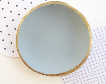 Grey Clay Ring Bowl // gold rim