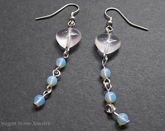 Rose Quartz Heart and Opalite Dangle Earrings