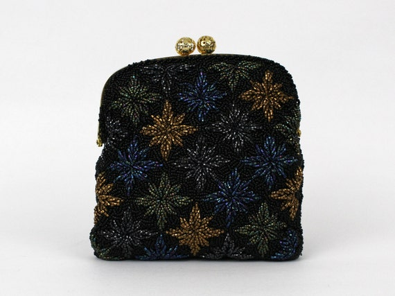 Black Beaded Evening Bag - Vintage 1950s Glass Beaded Starburst Clutch