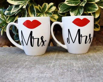 Coffee Mug Set of 2- Mrs. and Mrs. Lip  Hers and Hers  Couples Wedding Gift Anniversary Gift Commitment Ceremony